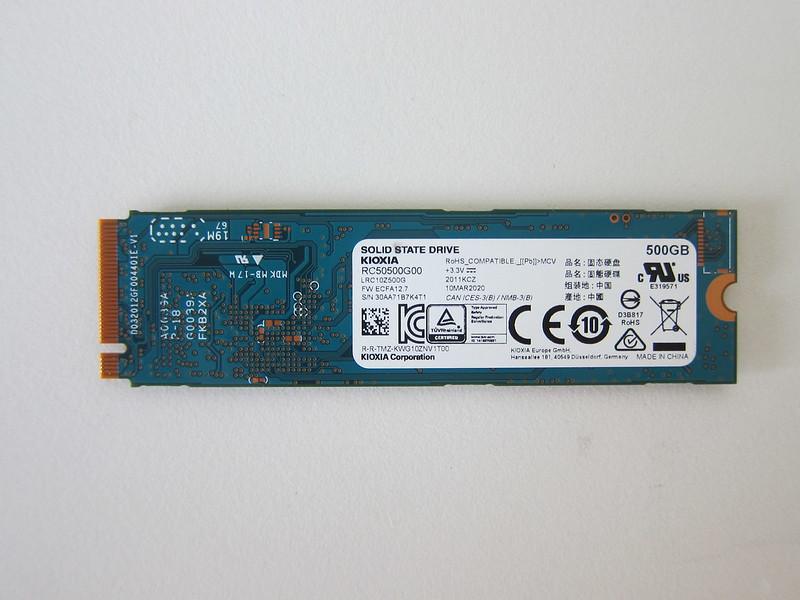 Kioxia Exceria 500GB NVMe M.2 SSD - Back