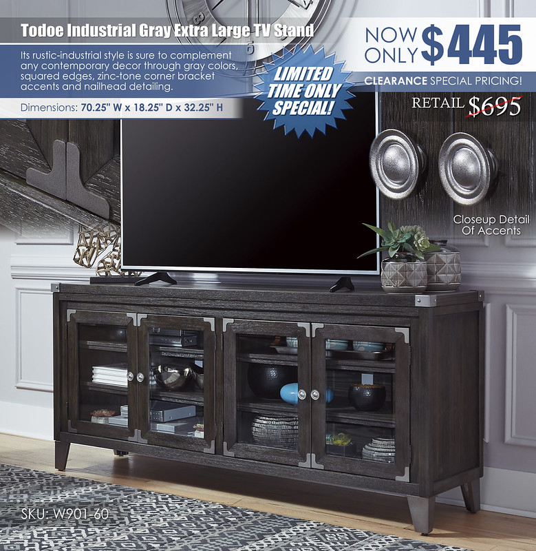 Todoe Industrial Gray Extra Large TV Stand_W901-60