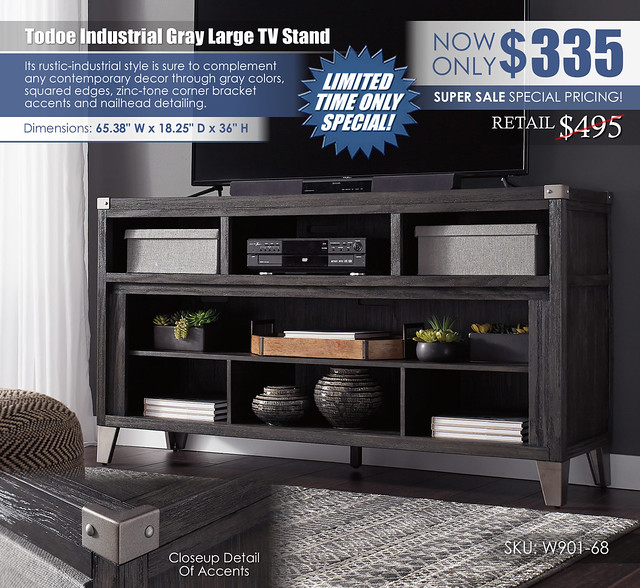 Todoe Industrial Gray Large TV Stand_Special_W901-68