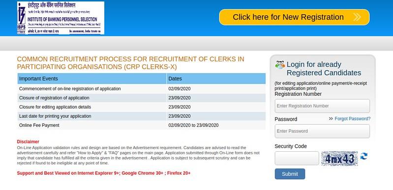 IBPS Clerk Login