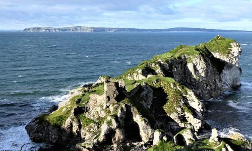Kinbane Castle, Co. Antrim with Rathlin Island