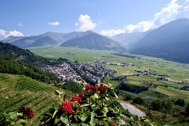 View from Marienberg Abbey (Abtei Marienberg / Abbazia Monte Maria) Vinschgau / South Tyrol (Südtirol) auf Burgeis (Burgusio)