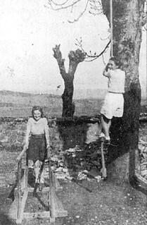 Tentatives de grimper à la corde et d'équilibre sur barres parallèles pour deux filles du cours complémentaire d'Orgelet