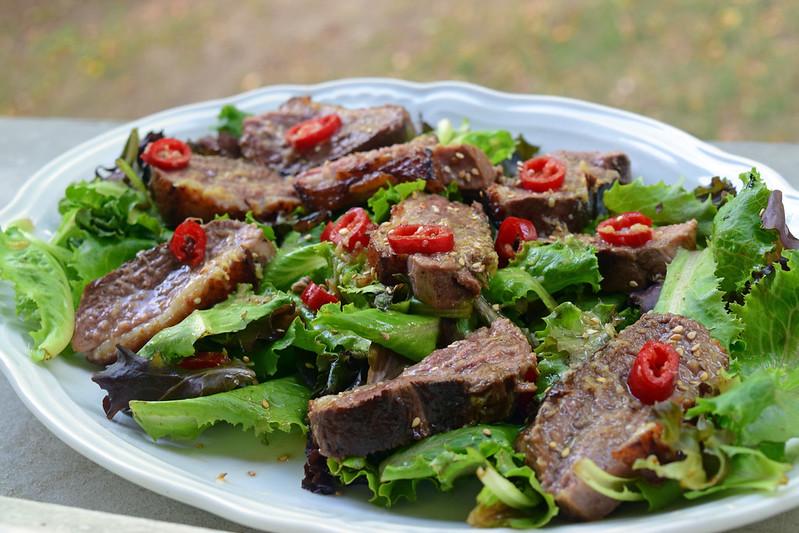 Salade chaude de magret de canard au gingembre2