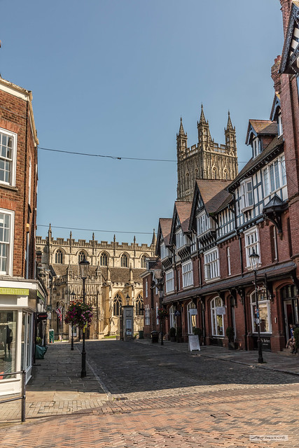 Gloucester Cathedral looking down College Street from Westgate Street.