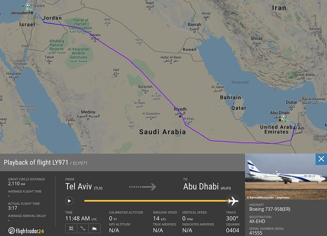 5735 KSA allows UAE to use Saudi airspace for flights to Israel