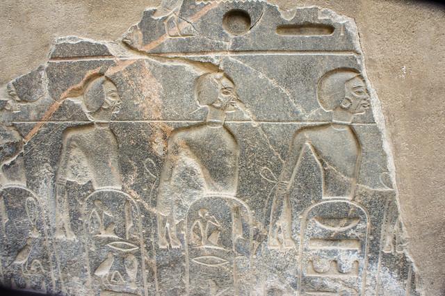 Female captives engraved on stone inside Egypt's Luxor temple