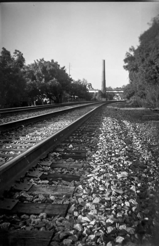 railroad tracks, converging, distant smokestack, railroad district, Asheville, NC, Kodak No 2 Cartridge Premo Model B, Fomapan 200, Moersch Eco film developer, 8.28.20