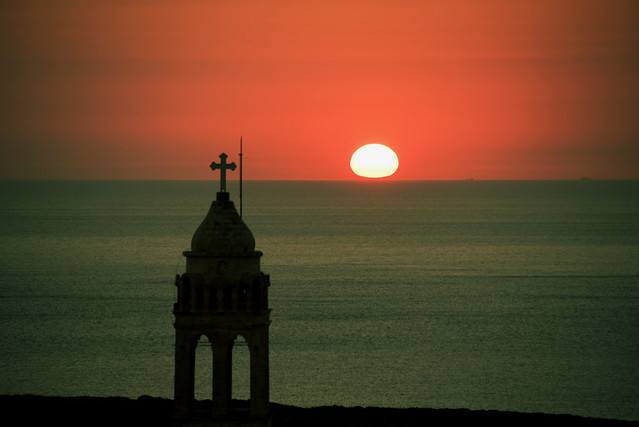 sunset beyond the monastery