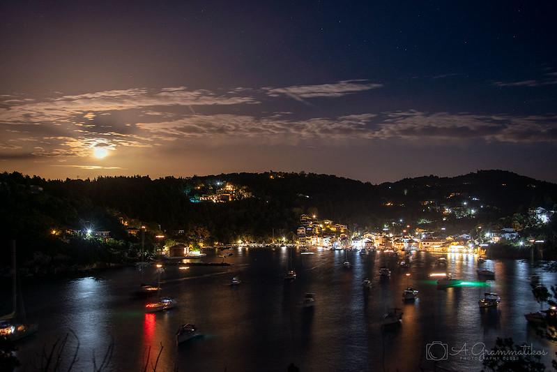 Full moon over Lakka, Paxos tonight.