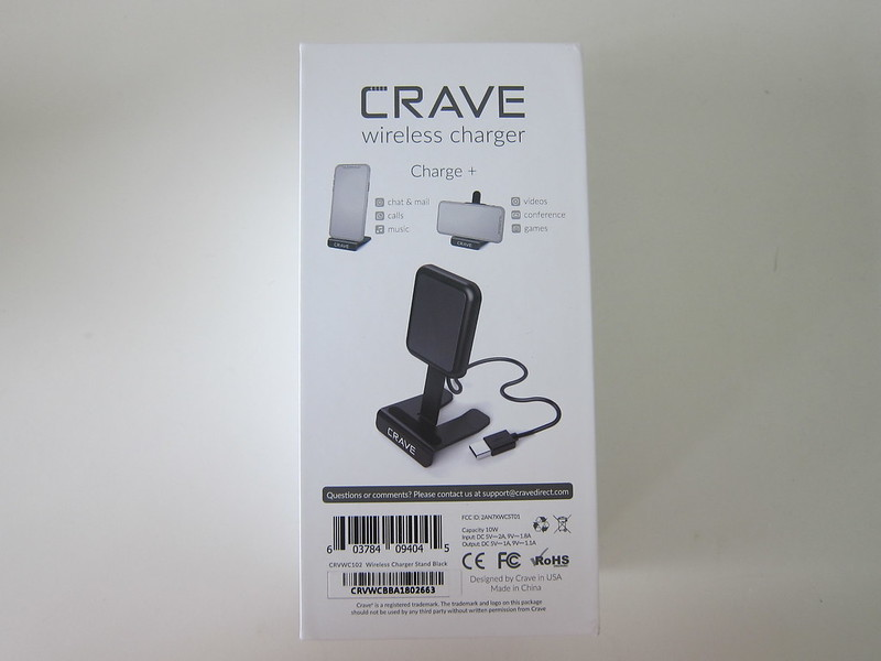 Crave 10W Wireless Charging Stand - Box Back