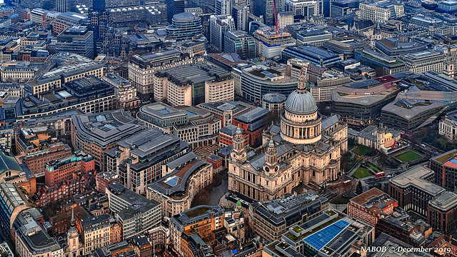 London, United Kingdom: Aerial cityscape above St Pauls Cathedral