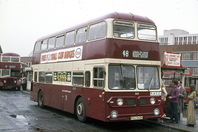 Cardiff Transport . 543 PKG543H . Cardiff Bus Station , South Wales . Wednesday 01st-September-1971 .