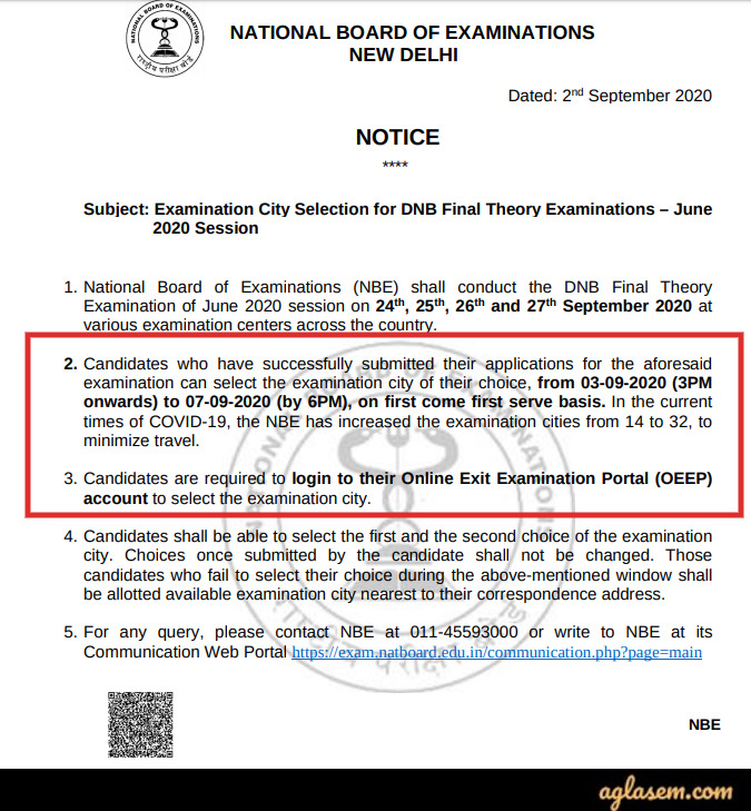 DNB Final Theory Exam June 2020 Notice For Change Exam Center