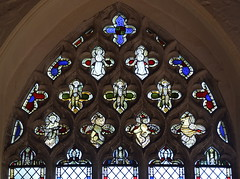 east window tracery: angels and evangelisticic symbols (15th/19th Centuries)