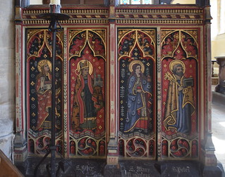 north screen figures: St Withburga, St Felix, St Mary Magdalene, St Peter (19th Century)