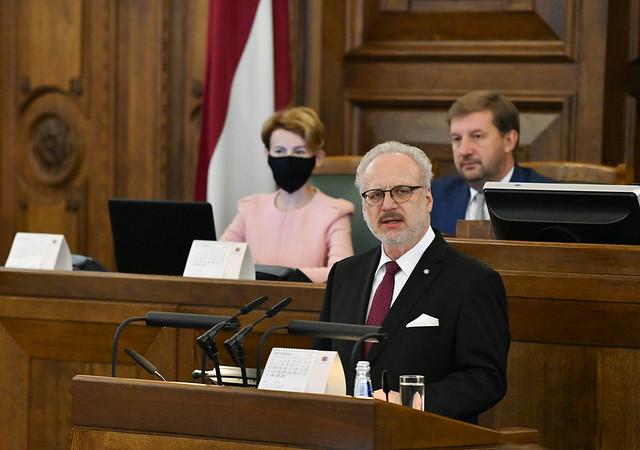 03.09.2020. Valsts prezidents Egils Levits uzrunā Saeimu rudens sesijas atklāšanas sēdē