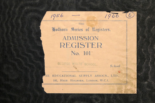 ADMISSION REGISTER GEORGE WHITE SCHOOL 1956-1966