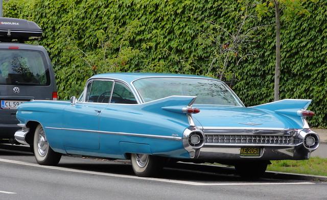 1960 Cadillac Coupe Deville wears US plates KE2051 in Copenhagen