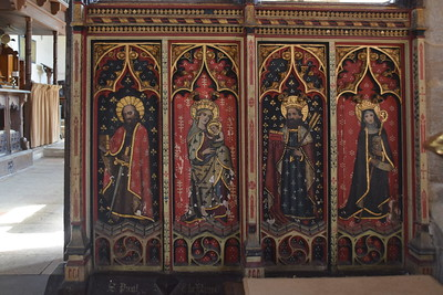 south screen figures: St Paul, Blessed Virgin and child, St Edmund and St Etheldreda (19th Century)