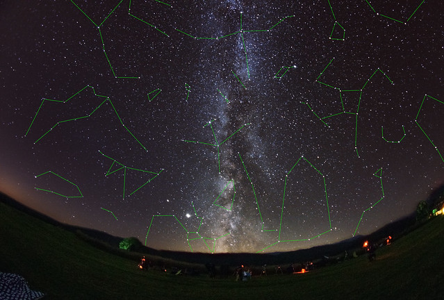 VCSE - A csillagképek az észlelőrétről - Fotó és a csillagképek berajzolása: Román Dávid
