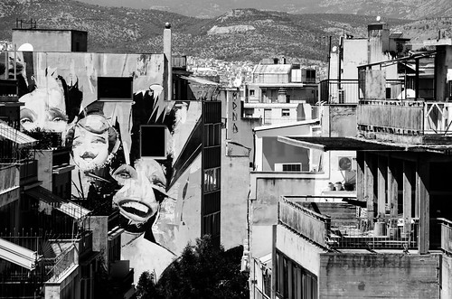 athens greece athina urban city dl downtown graffiti mural concrete photography balcony buildings houses people monochrome blackandwhite bw home cityscape summer traveling athenes capital view monastiraki