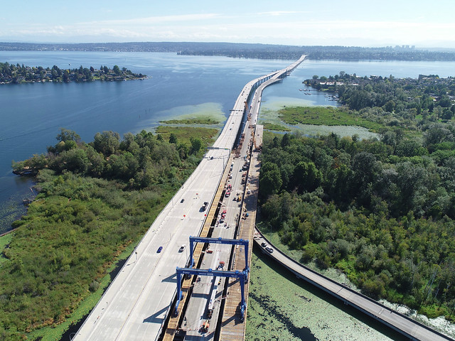 Removing the old eastbound SR 520 bridge through Foster Island in Union Bay- 08/24/2020