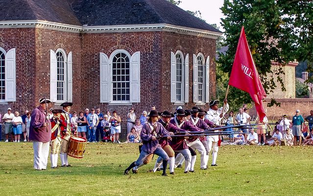 Soldiers with muskets in Colonial Williamsburg, Virginia