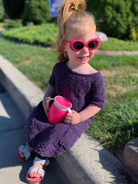 Here is Dianne's sweet granddaughter loving her new dress! Pattern is Simo by Cirilia Rose. Yarn is Berroco Remix Light.