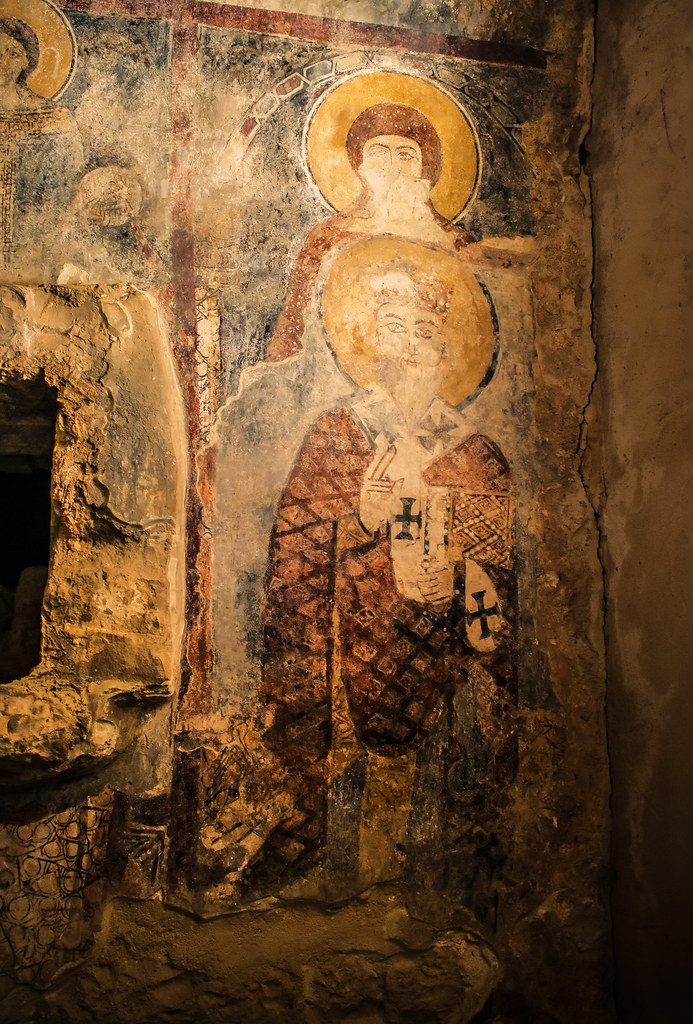 Frescoes depicting several saints in Saint Charbel Maad Church Lebanon