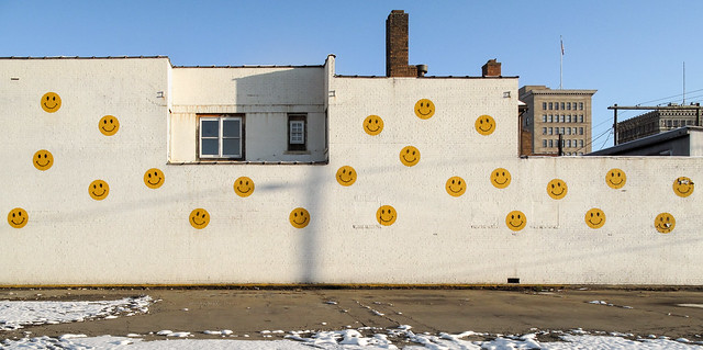 The long-beloved wall of smiley faces of downtown Steubenville.