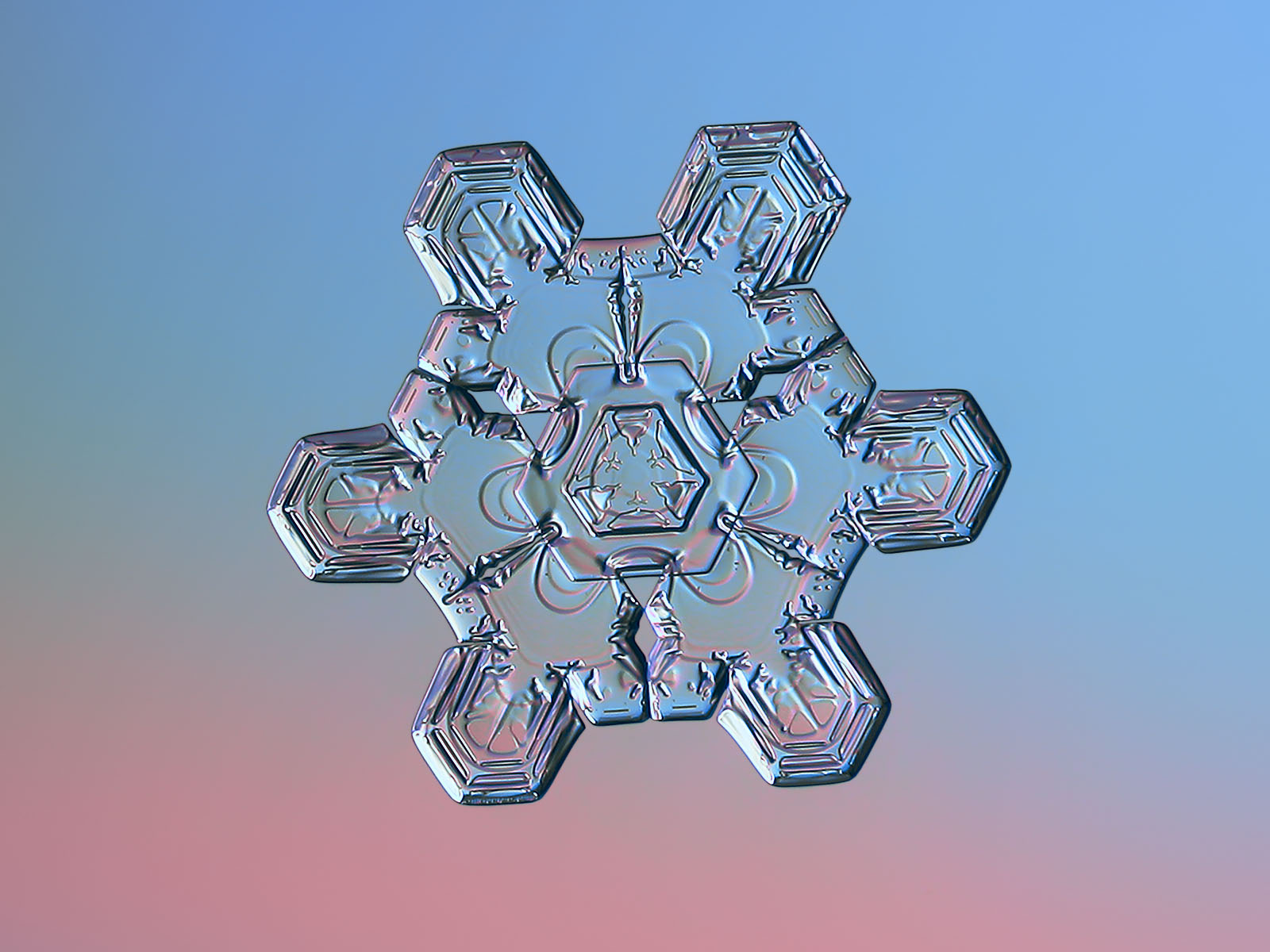 Snowflake macro photo: unusual star plate with short, straight arms and massive center with triangular symmetry