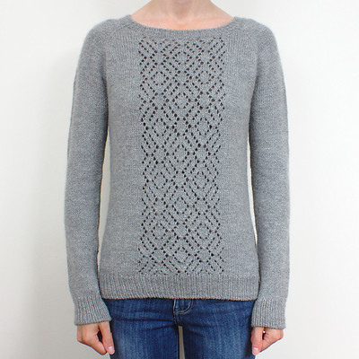 Snowfall by Sarah Cooke is a seamless raglan sweater with a beautiful lace panel down the front. Save 20% with code SNOWFALL until September 16th on Ravelry's!