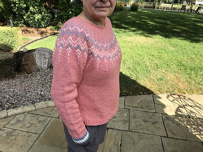 Connie wanted a year round sweater so knit her Celosia by Jennifer Steingass with Rowan Cotton Cashmere - 85% Cotton, 15% Cashmere