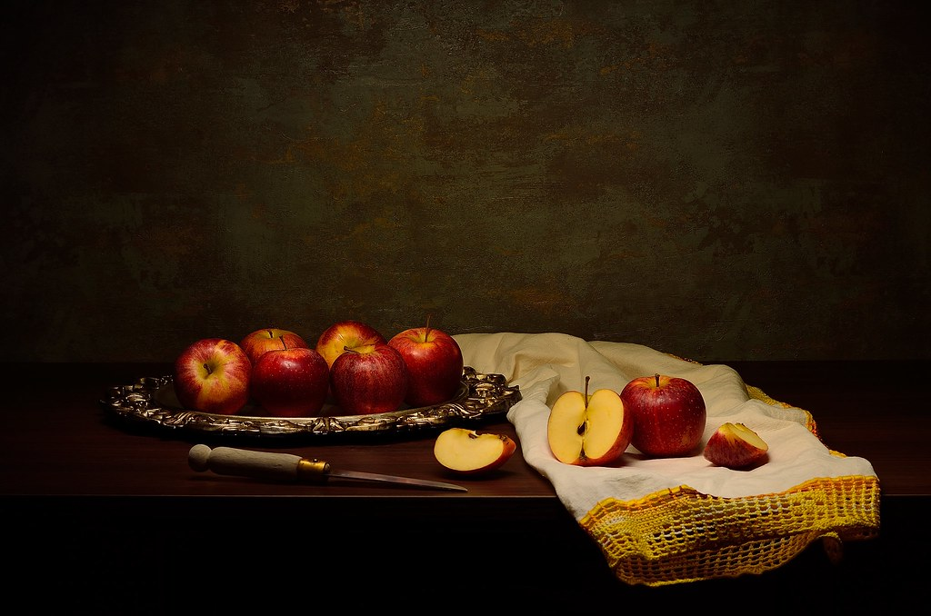 Still life with red apples