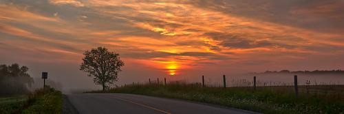 sunrise panorama clouds field fence hff woolwichtownship waterlooregion ontario canada