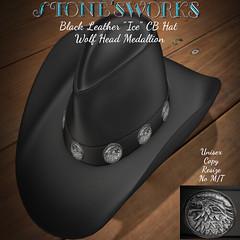 Black Leather Ice Cowboy Hat