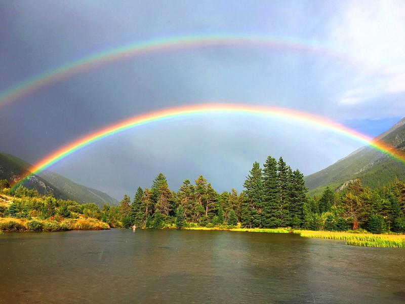 double rainbow in Absaroka-Beartooth Wilderness, Montana
