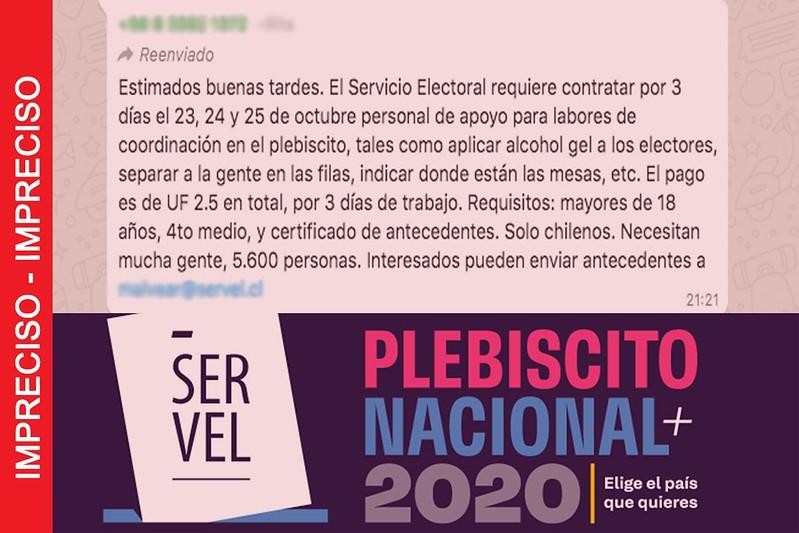 Requisitos para trabajar con el Servel durante el Plebiscito anunciados en este mensaje de Whatsapp