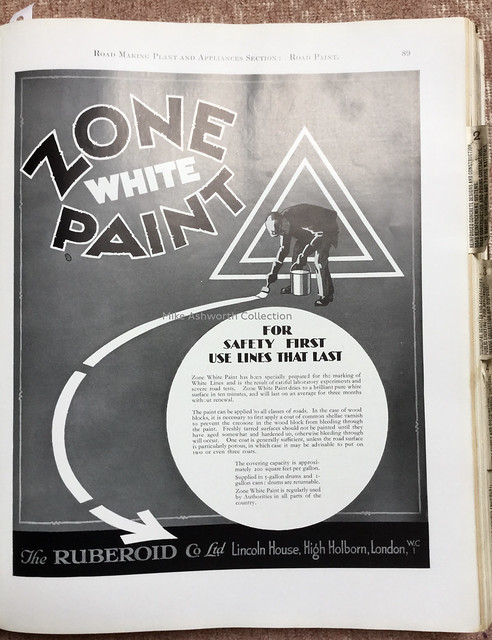 Zone White Road Paint - advert issued by The Ruberoid Co Ltd., London, c1933