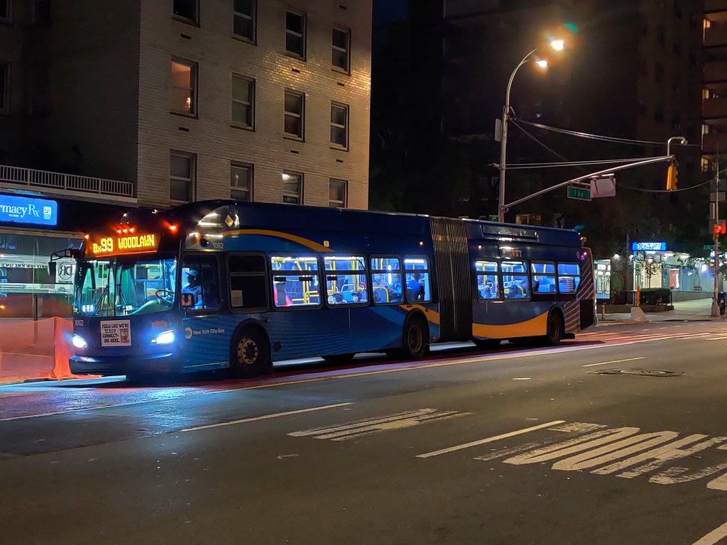 """2018 New Flyer """"Xcelsior"""" XN60 1062 on the Bx99 at 1st Avenue & E 86th Street"""