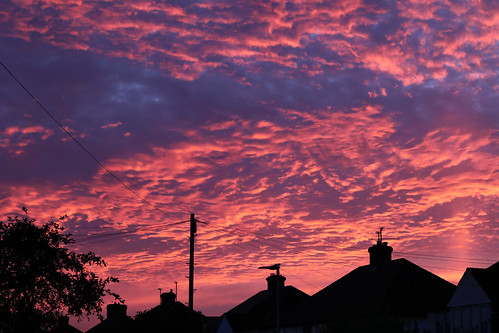 sunset colour sky clouds landscape suburbs light silhouette houses residential canoneos77d canonefs1755mmf28 standardzoom bedford england uk greatbritain img4565 pink