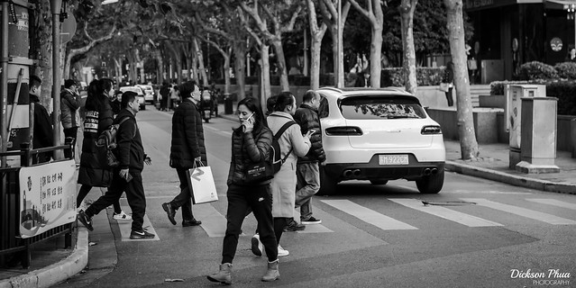 Crossing the street in Shanghai