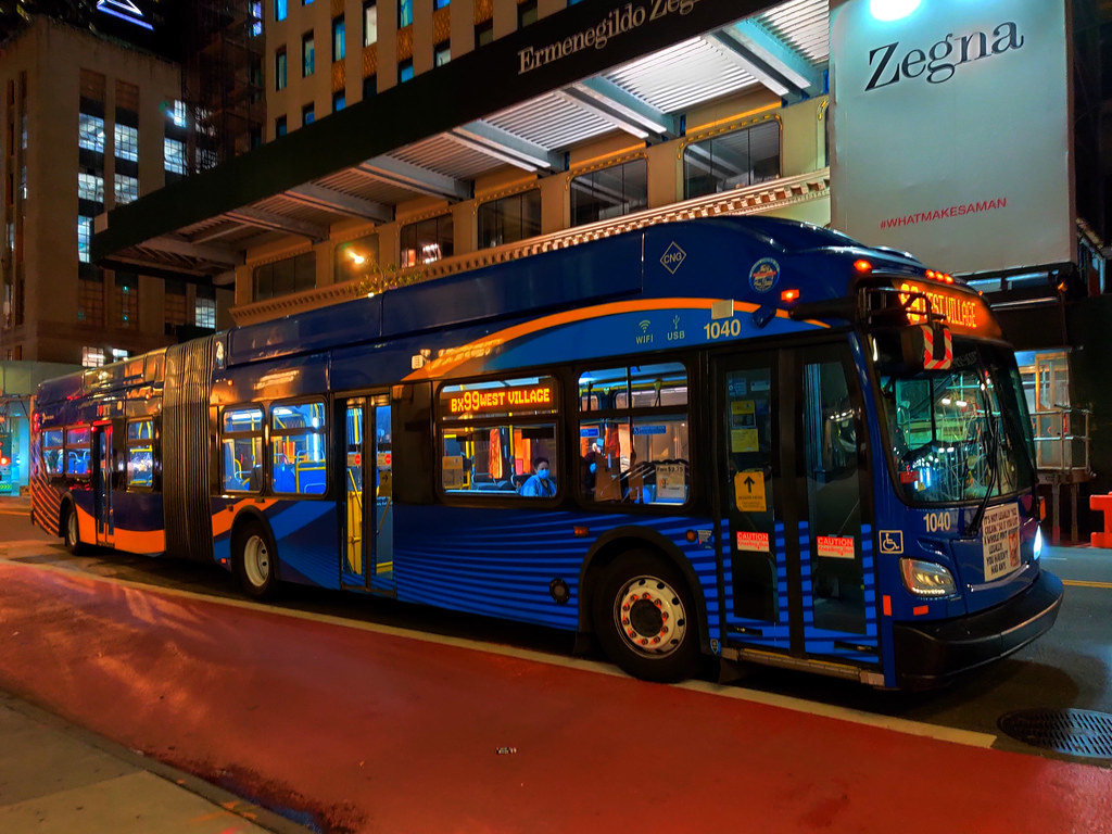 """2018 New Flyer """"Xcelsior"""" XN60 1040 on the Bx99 at West 57th Street & 5th Avenue"""