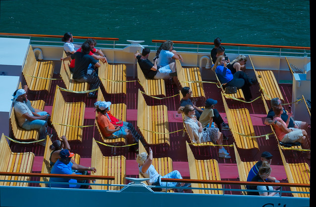 Social distancing on a boat cruise.