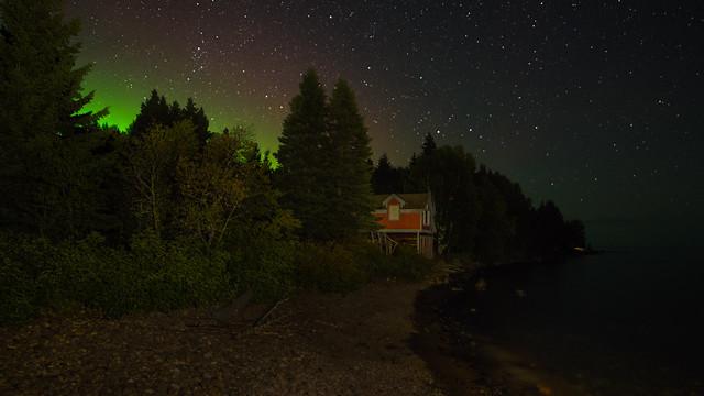 Northern lights on Lake Superior