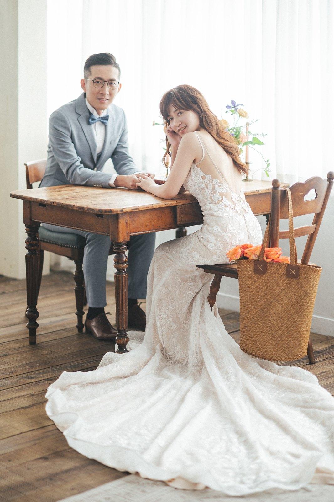 【婚紗】Theo & Angel / Studio Noon / 草地野餐風 / 花籃腳踏車 / 囍餅開箱
