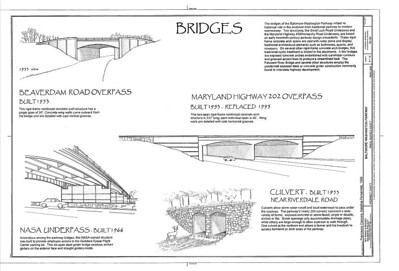 Bridges, Parkway urban design, Baltimore-Washington Parkway, drawing, Historic American Engineering Record