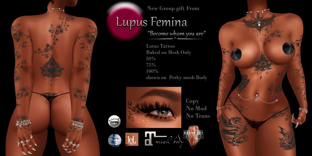 """Lupus Femina"" Lotus Tattoo – BOM – Group Gift"