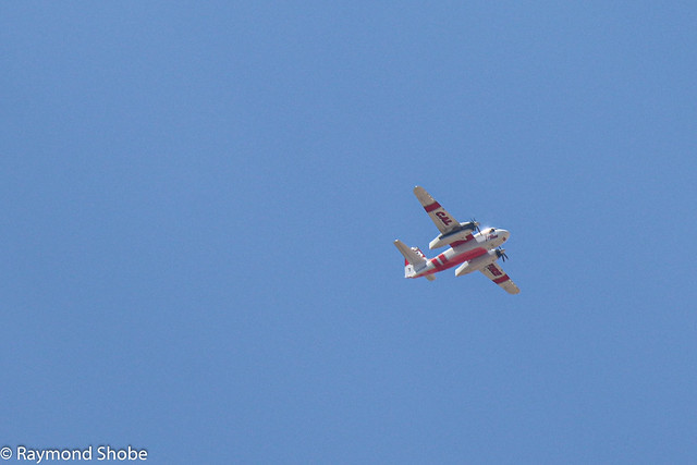 Cal Fire T73 fire tanker flying over us to the #eldoradoFire, Banning CA